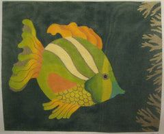 Nan Hempel Yellow & Green Fish on Green Background