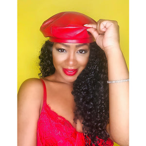 Red Faux Leather Beret