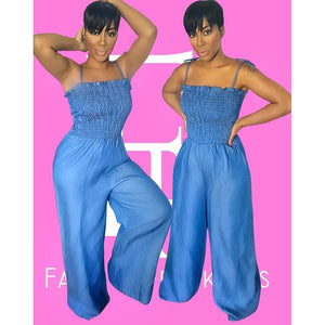 Denim Accordion Jumpsuit