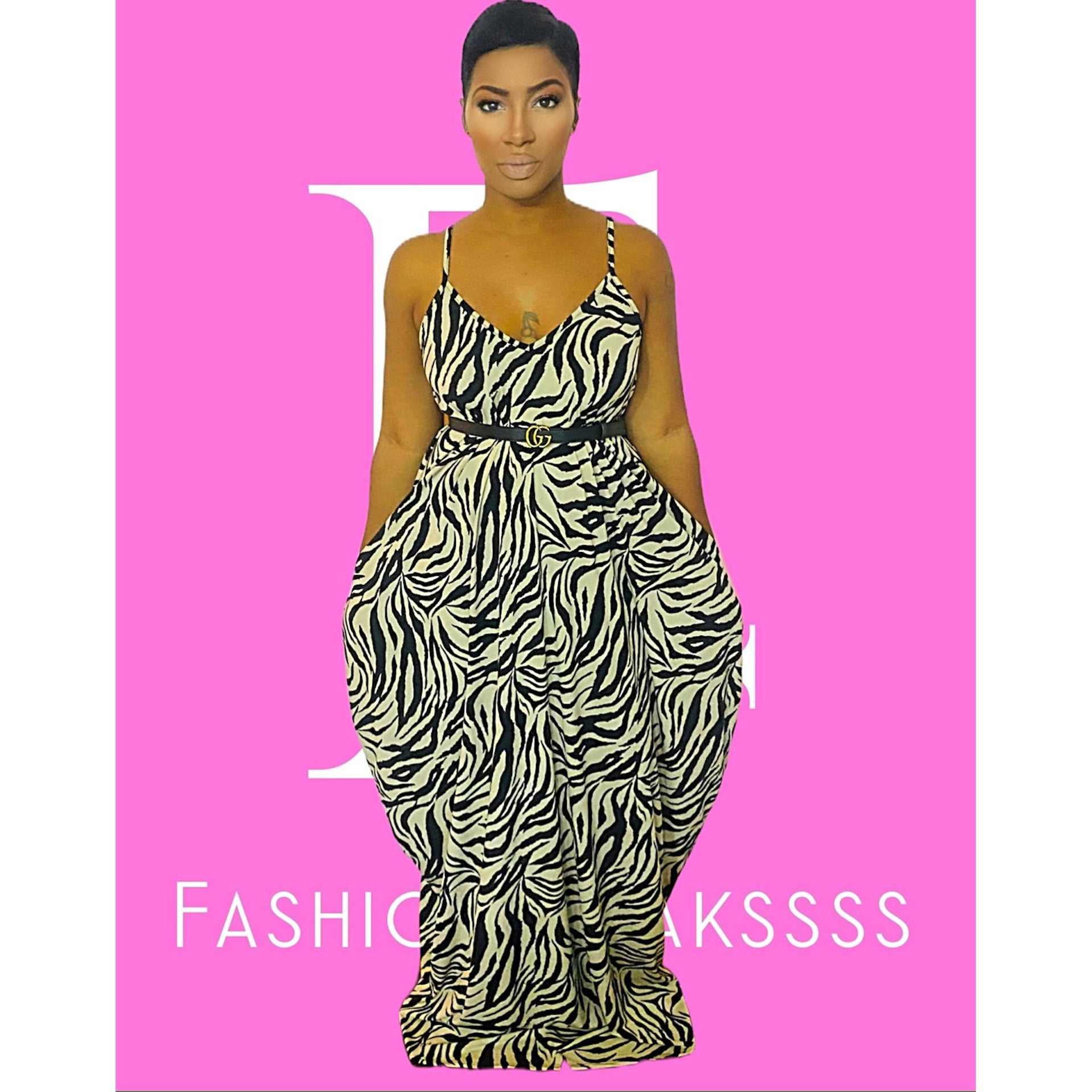 Zebra Safari Maxi Dress