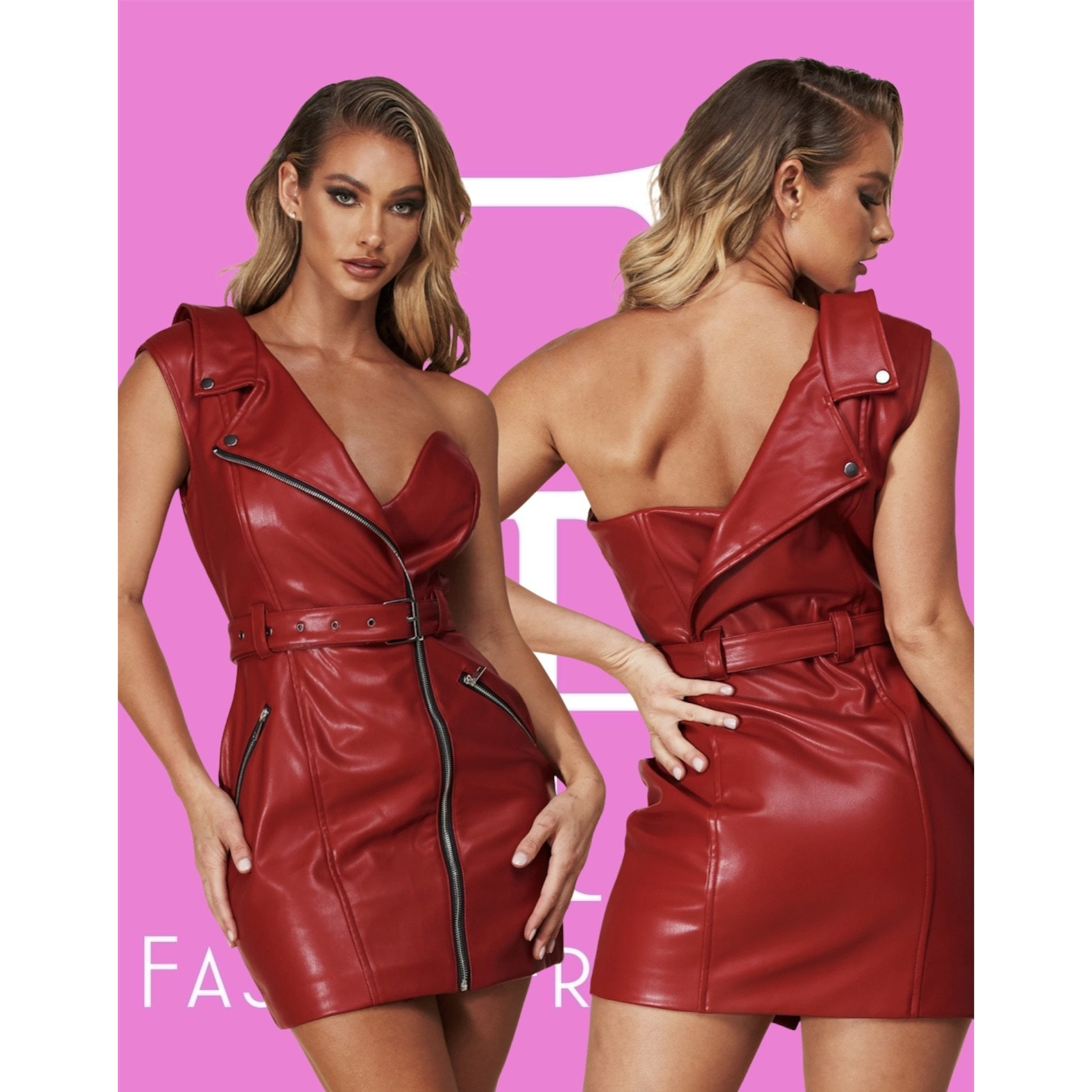 Woman On Fire Leather Dress