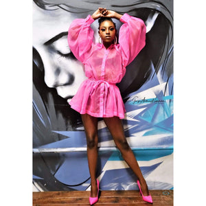 Pink Highlighter Shirt Dress