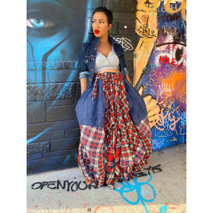 Rugged Denim/Plaid Maxi Skirt