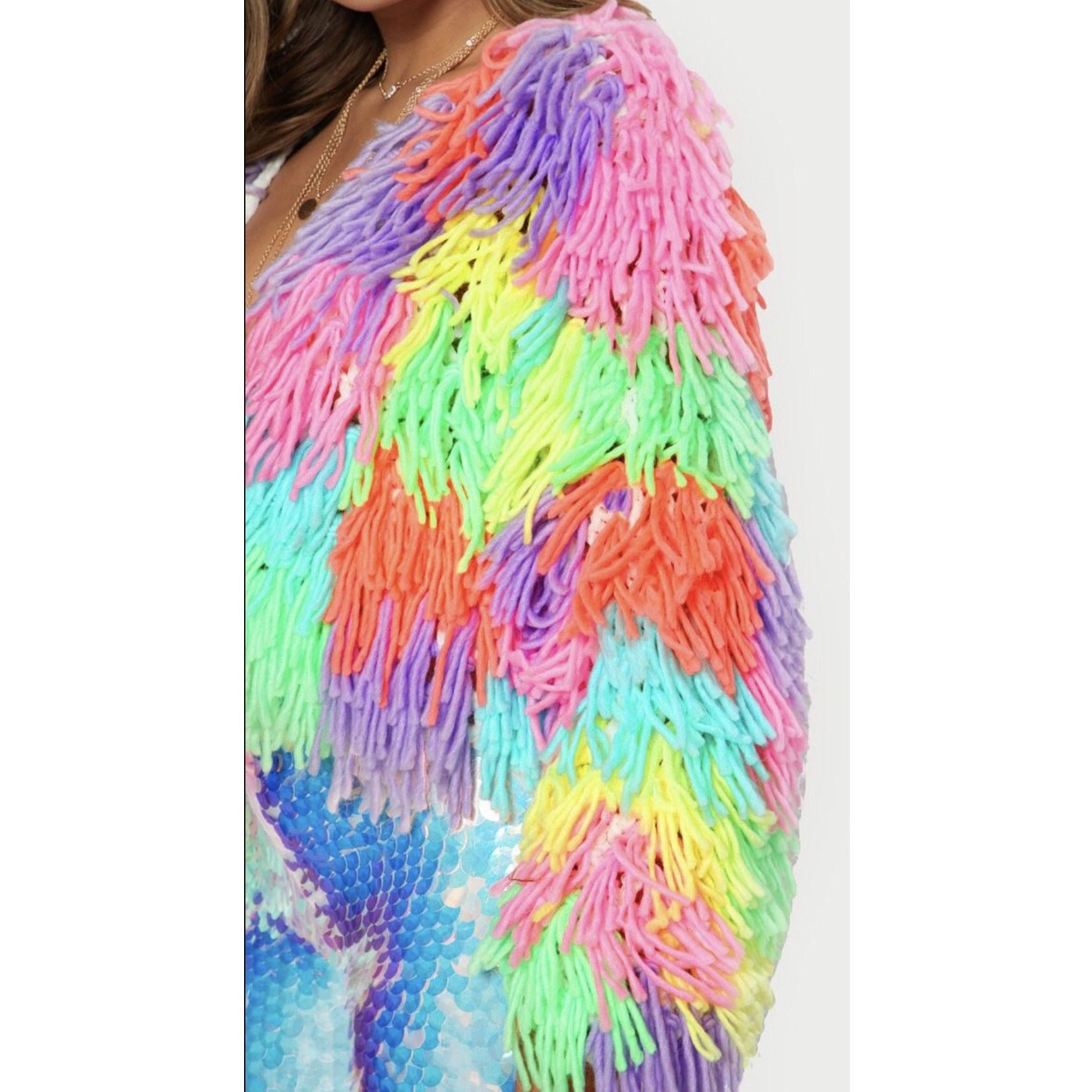 Sherbet Neon Shaggy Sweater