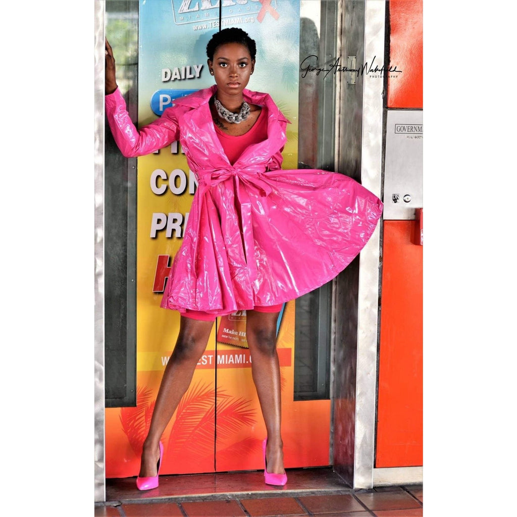 Pink Latex Trench Coat