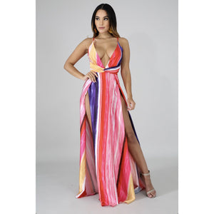 Strawberry Slit Maxi Dress