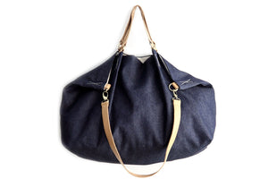 Weekend BAG, denim and leather bag, blue. Personalized with name.
