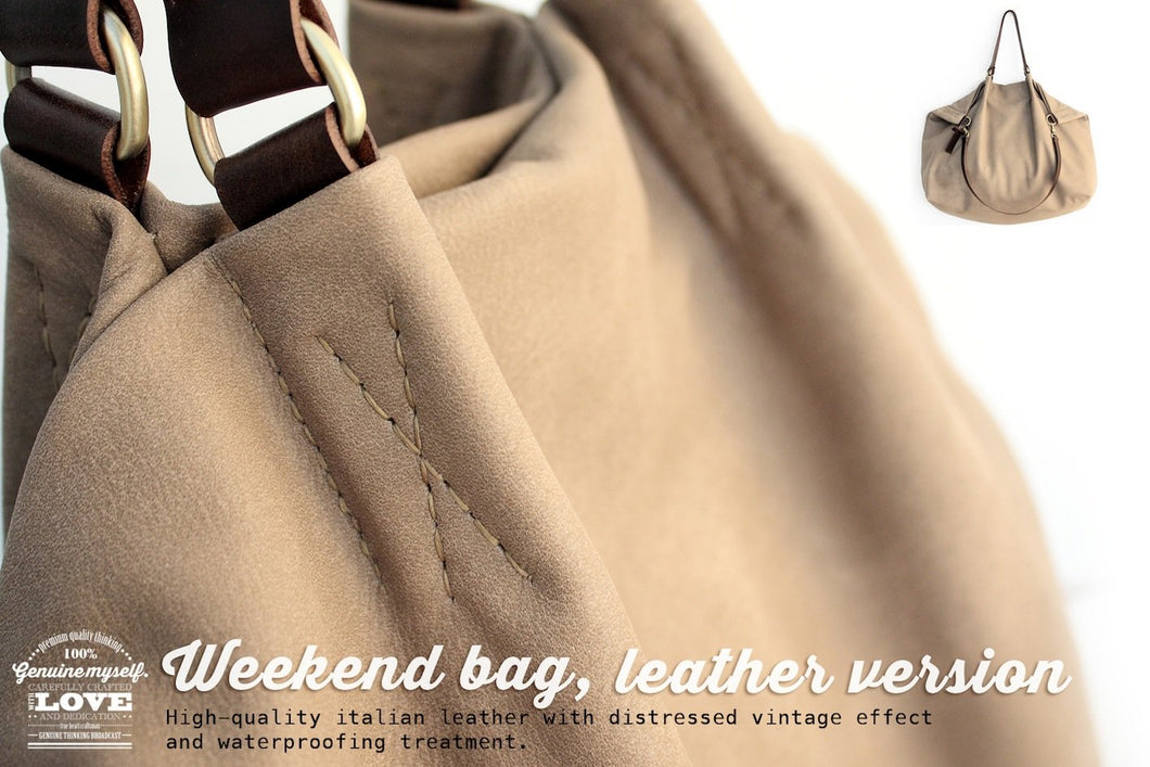 Weekend bag, leather bag, made of very soft italian leather. Personalized with name.