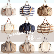 Load image into Gallery viewer, Weekend BAG, canvas and leather bag, striped brown. Personalized with name.