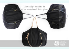 Load image into Gallery viewer, Weekend bag, canvas and leather bag, black. Personalized with name