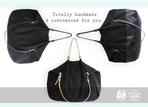 Weekend bag, canvas and leather bag, black. Personalized with name