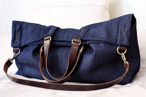 Weekend BAG, denim and leather bag, blue. Personalized with name