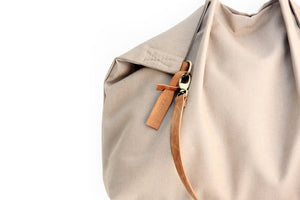 Weekend bag, canvas and leather bag, light brown. Personalized with name.