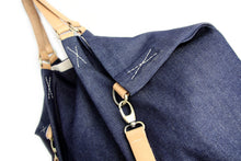 Load image into Gallery viewer, Weekend BAG, denim and leather bag, blue. Personalized with name.