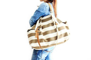 Weekend BAG, canvas and leather bag, striped brown. Personalized with name.