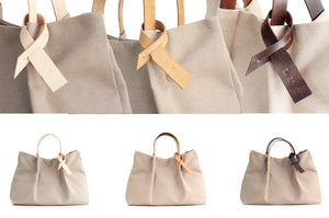 Anna TOTE bag and HAND bag made of canvas and italian leather personalized