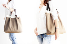 Load image into Gallery viewer, Anna TOTE bag and HAND bag made of canvas and italian leather personalized