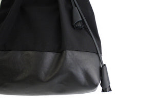 TOTE bag made of canvas and italian leather, black. Anna bag