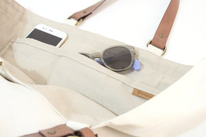 Olivia TOTE bag, Shopping bag made of canvas and italian leather, personalized with your name