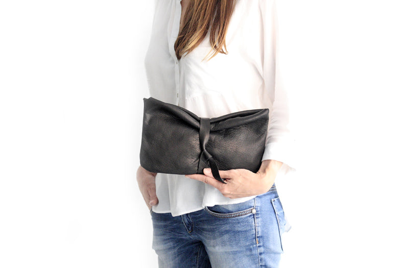 Black leather clutch bag - Clutch CRIS, very soft leather / nappa bag, black