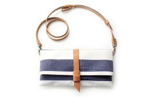 Clutch / little bag / cross body bag / crossbody bag, made of canvas and leather, striped blue. Ale clutch and crossbody bag