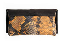 Load image into Gallery viewer, Clutch ELY, very soft nappa leather and python bag.
