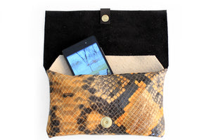 Clutch ELY, very soft nappa leather and python bag.
