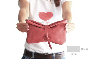 Red Leather clutch bag - Clutch CRIS, very soft leather / nappa bag, red