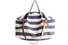 Load image into Gallery viewer, Weekend bag, canvas and leather shoulder bag, made of water resistant fabric striped blue, personalized bag with name