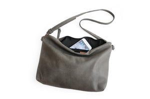 Leather crossbody bag, SHOULDER BAG made of italian Grey leather. Silvie leather crossbody bag