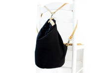 Load image into Gallery viewer, Cleo CONVERTIBLE BACKPACK in bag, canvas and leather backpack, Black color.