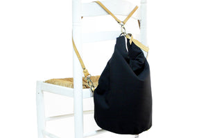 Cleo CONVERTIBLE BACKPACK in bag, canvas and leather backpack, Black color.
