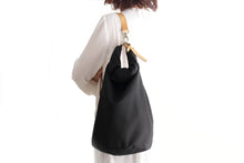Load image into Gallery viewer, Cleo CONVERTIBLE BACKPACK, leather backpack, made of  italian Suede leather, Black color.