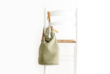 Load image into Gallery viewer, Cleo CONVERTIBLE BACKPACK, leather backpack, made of  italian Suede leather, Olive color.