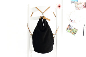 Cleo CONVERTIBLE BACKPACK, leather backpack, made of  italian Suede leather, Black color.