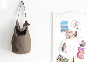 Cleo CONVERTIBLE BACKPACK in bag, canvas and leather backpack, Brown color.