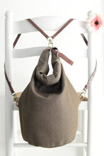 Load image into Gallery viewer, Cleo CONVERTIBLE BACKPACK in bag, canvas and leather backpack, Brown color.