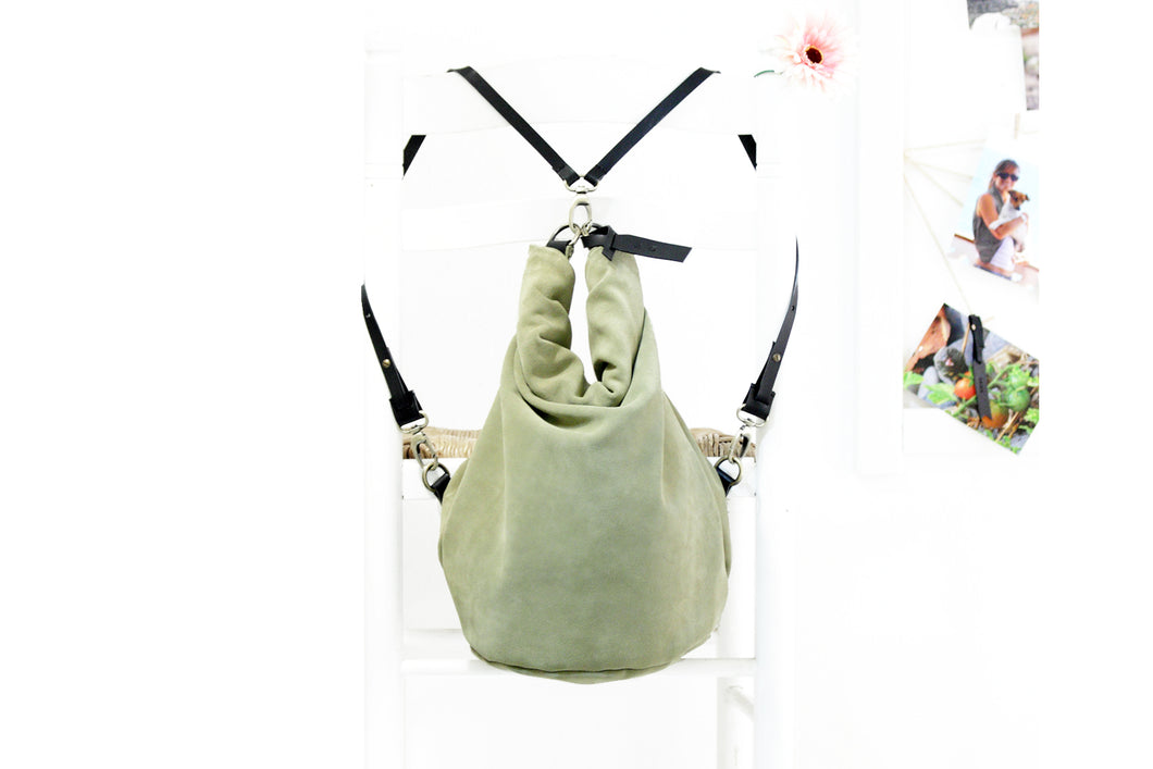 Cleo CONVERTIBLE BACKPACK, leather backpack, made of  italian Suede leather, Olive & black color.