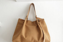 Load image into Gallery viewer, TOTE bag and HAND bag made entirely of Italian leather, brown color. Emma bag leather version