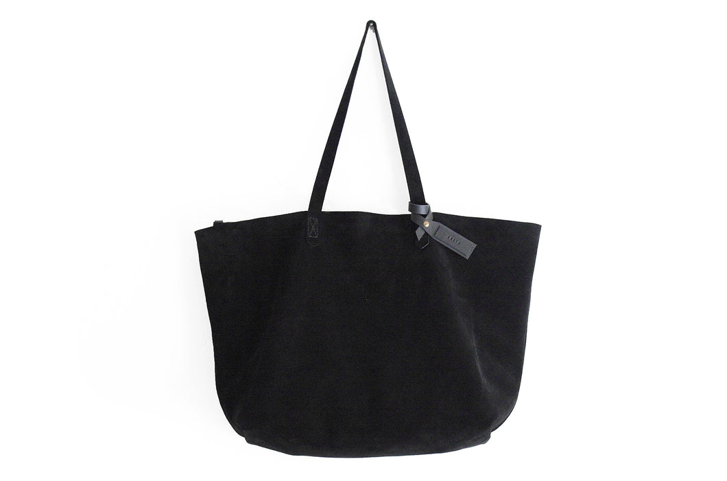 TOTE bag, Shopping bag, Shoulder bag made of black SUEDE LEATHER. Personalized with your name. Anita Tote bag