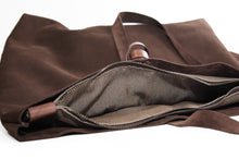 Load image into Gallery viewer, Anita TOTE bag, Shoulder bag made of brown chocolate LEATHER personalized with your name