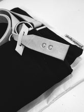 Load image into Gallery viewer, Weekend bag, canvas and leather bag, black; personalized with name.