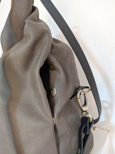 Cleo CONVERTIBLE BACKPACK, leather backpack, made of  italian leather, Grey color.