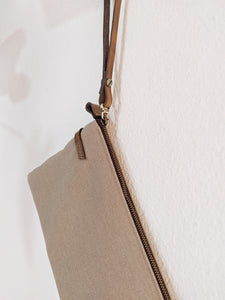 Canvas and Leather clutch bag and crossbody bag, ADA clutch