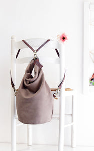 Cleo CONVERTIBLE BACKPACK, leather backpack, made of  italian leather, Taupe color.