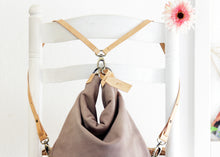 Load image into Gallery viewer, Cleo CONVERTIBLE BACKPACK, leather backpack, made of  italian leather, Taupe color.