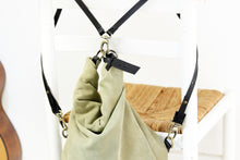 Load image into Gallery viewer, Cleo CONVERTIBLE BACKPACK, leather backpack, made of  italian Suede leather, Olive & black color.