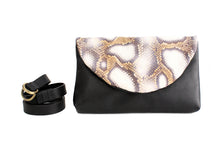 Load image into Gallery viewer, Clutch, Waist bag or belt bag made of very soft nappa leather and python. Waist bag