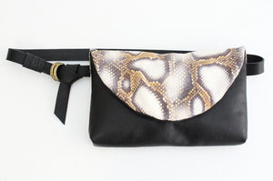 Clutch, Waist bag or belt bag made of very soft nappa leather and python. Waist bag