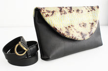 Load image into Gallery viewer, Waist bag, belt bag or clutch bag made of very soft nappa leather and python. Waist bag